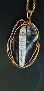 A gold wire pendant necklace with a cutting of coquina rock as the pendant