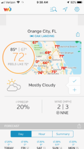 A screenshot of an app displaying the weather