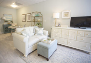 A photo of a modern living room in a senior apartment in Orange City, Florida at the John Knox Village of Central Florida retirement community