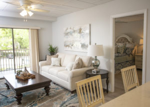 A modern, spacious living room in a new senior apartment in Orange City, FL in the John Knox Village of Central Florida senior living community