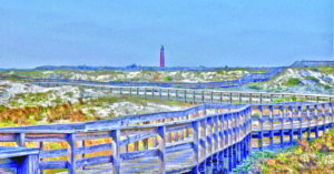An painting of the extensive boardwalk over the dunes at New Smyrna Beach in Florida