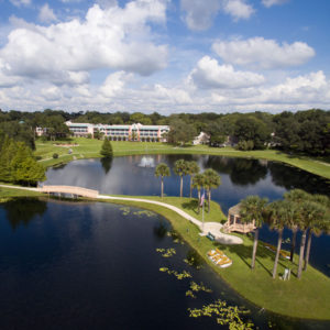 An exterior photo of the small lake on the grounds of the John Knox Village of Central Florida