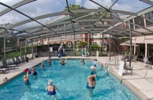 Seniors taking a water exercise class at the John Knox Village of Central Florida