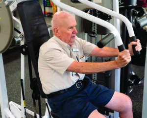 Senior man working out at the John Knox Village of Central Florida retirement community