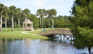 An outdoor photo of the pond and walking paths at the John Knox Village of Central Florida senior living community