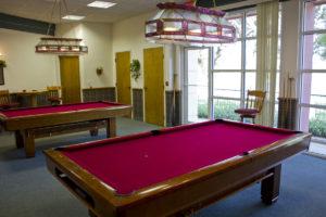 An empty pool hall