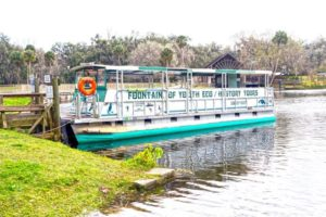 A photo of a small 20 person riverboat that gives tours of the Fountain of Youth in Florida