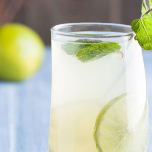 A refreshing glass of water with lime and mint