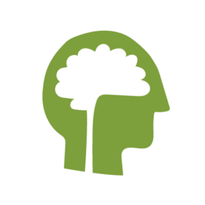 A silhouette of a head in green with the brain in white to signify the memory care page