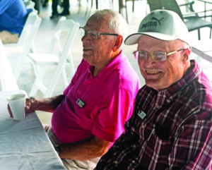Seniors gather for an event outdoors