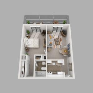 A senior apartment floor plan at the John Knox Village of Central Florida senior living community