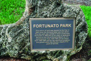Dedication plague in Fortunato Park honoring Nicholas Fortunato for his years of service as Ormond Beach city commissioner and mayor.