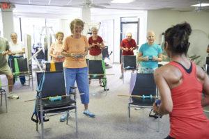 Seniors doing core strengthening exercises